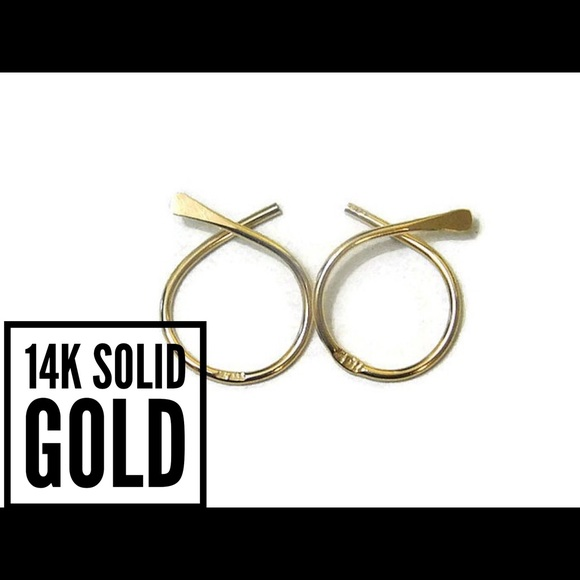 Nejd 14k solid gold hammered fish hoops from kady 39 s for Solid gold fish
