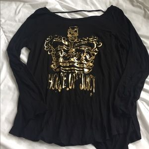 Juicy Couture Tops - adorable black and gold juicy couture shirt size S