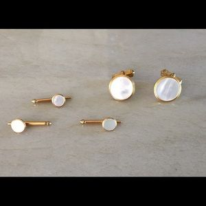 Swank Other - Swank Gold Filled Mother of Pearl Tuxedo Stud Set