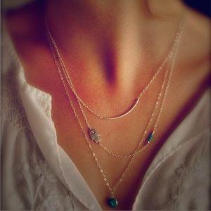 Jewelry - Dainty Multi Strand Hamsa Fatima Evil Eye Necklace