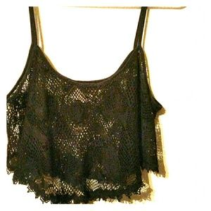 Tops - Rose Lace Crop Top Cover Up