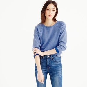 JCREW // distressed washed indigo sweater