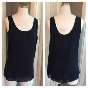 Vince Tops - VINCE navy overlay tank