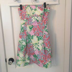 Lilly Pulitzer print strapless dress