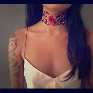 Floral Embroidered Boho Gypsy Choker Necklace