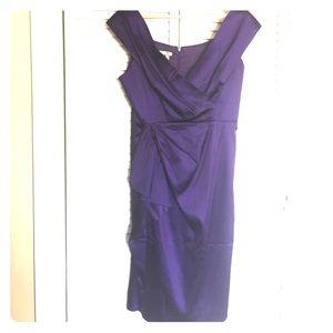 Maggy London Elegant Amethyst Faux Wrap Dress