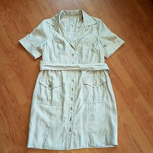 Chico's Dresses & Skirts - Chico's Sz 3 silver shimmer belted button dress