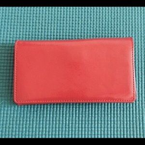 Halogen leather small wallet organizer red