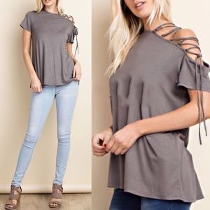 VIENNA lace up cold shoulder top - GREY