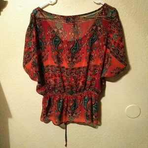 Tilly's Tops - Deep burnt red drawstring bow blouse