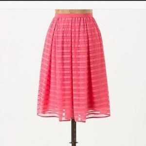 Anthropologie Maeve coral striped skirt