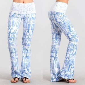 ASHTON lace detail lounge pants - BLUE