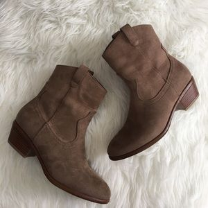 Wild Diva Taupe Pull On Spring Cowgirl Booties