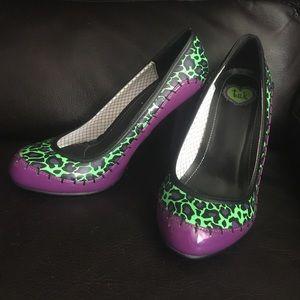 T.U.K. Green and Purple Leopard Print Heels