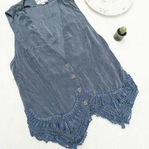Vintage Jackets & Blazers - NWT Vintage Boho Festival Gypsy Crochet Lace Vest