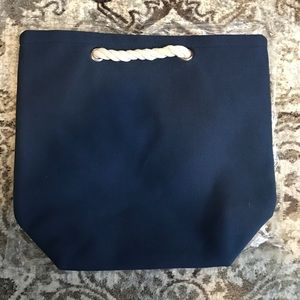 Handbags - Navy Tote with Rope Handles
