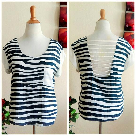Ark & Co Tops - Navy Blue & White Zebra Stripped Top
