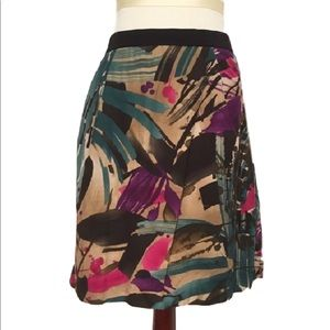 ANN TAYLOR painted palm silky skirt pockets 14