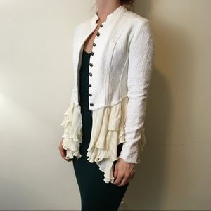 Free People Jackets & Blazers - Free People White Military Ruffle Fitted Jacket