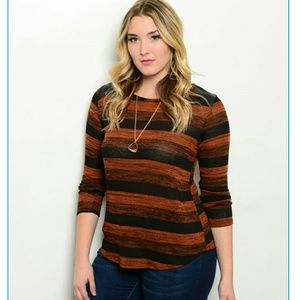 Fashion to Figure Tops - ACTUAL PIC ADDED Rust and Black Plus Size Top