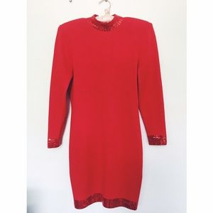 St. John Knits Vintage Evening Beaded Red Dress