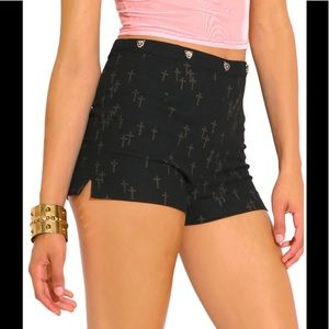 Pants - Shorts black w/ crosses and leopards on Waist