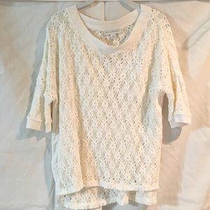 White + Warren Tops - Like NEW White & White Summer Knit Top! Sz M