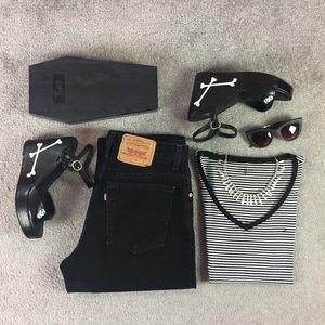 "Levi's Denim - Vintage Levis 550 High Waist black mom Jeans. 32"""