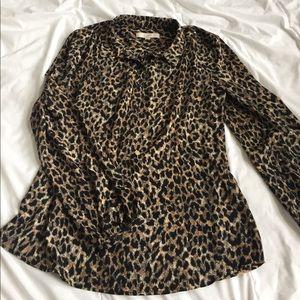 LOFT cheetah print top size M