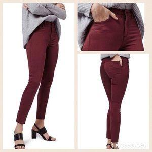 Topshop Denim - NWT Topshop Moto Leigh ankle skinny jeans burgundy