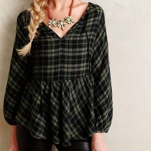 Holding horses green plaid ruffle peasant blouse