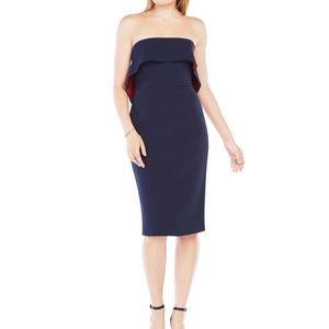 Bcbg max azria blue strapless ruffle dress size 2