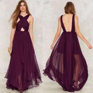 Nasty Gal Purple Reina Maxi Dress