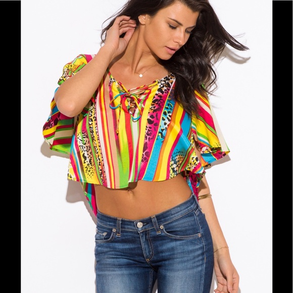 97 off w tops crop top multi color ethnic tribal boho chic top from lorrie 39 s closet on poshmark. Black Bedroom Furniture Sets. Home Design Ideas