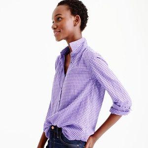 J. Crew Tops - J. Crew Purple Gingham perfect shirt