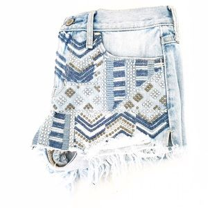 Hollister Pants - Hollister Studded Embroidered Cut Off Shorts