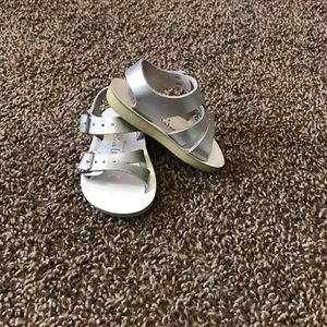 Salt Water Sandals by Hoy Other - Saltwater Sandals Silver Size 2 Great Condition