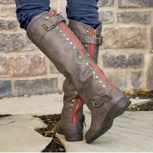 Journee Collection Shoes - Gray Journee Studded Tall Riding Boots Wide Calf