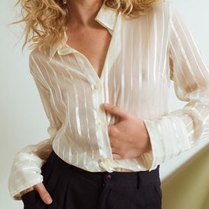 Vintage metallic & white striped sheer blouse