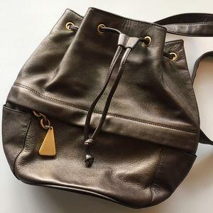 Handbags - SALE! Bronze Leather Drawstring Backpack