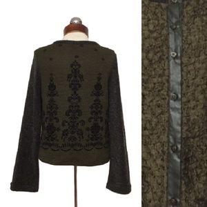 anac Sweaters - ANAC by kimi mixed media star button Cardigan