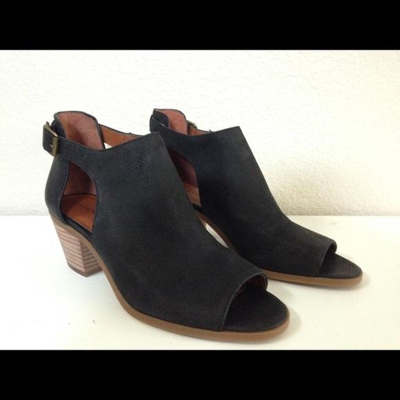 lucky brand black open toe booties