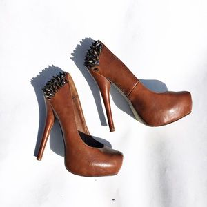 Wild Pair Shoes - Wild pair Brown platforms with spikes and jewels