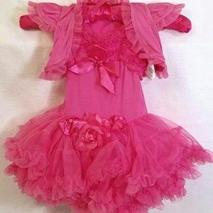 Popatu Other - Popatu Pink Roses Tulle Lace Leotard Dress w Shrug