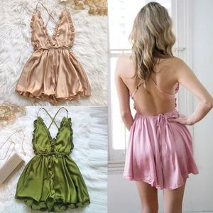 Pants - Satin Backless Romper