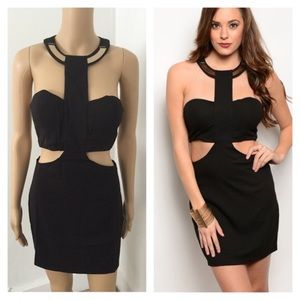 Dresses & Skirts - NWT black cutout dress with gold accent neckline