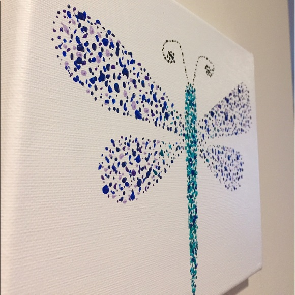 Hand Painted Dragonfly Wall Art Nwt