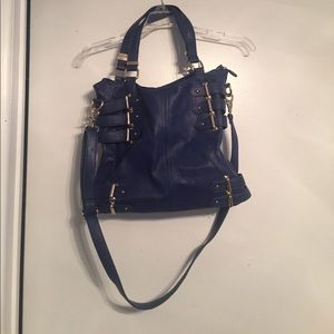 Deena & Ozzy Handbags - Blue purse with gold buckle details