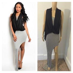 Dresses & Skirts - NWT black & gray asymmetrical dress
