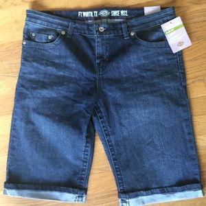 """Dickies Pants - NWT🚨DICKIES Stretch """"Slim Fit"""" Blue Jean Shorts"""